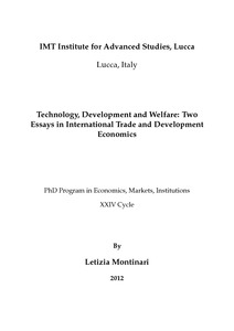 technology development and welfare two essays in international  technology development and welfare two essays in international trade and development economics